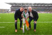 20 August 2017; eir GAA flagbearer Grainne Daughton pictured with eir GAA ambassadors Tomás Ó Sé and David Brady at the All-Ireland Senior Football Semi-final between Mayo and Kerry in Croke Park, Dublin. Photo by Stephen McCarthy/Sportsfile