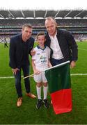 20 August 2017; eir GAA flagbearer Jack Nevin pictured with eir GAA ambassadors Tomás Ó Sé and David Brady at the All-Ireland Senior Football Semi-final between Mayo and Kerry in Croke Park, Dublin. Photo by Stephen McCarthy/Sportsfile