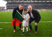 20 August 2017; eir GAA flagbearer Jonah Flanagan pictured with eir GAA ambassadors Tomás Ó Sé and David Brady at the All-Ireland Senior Football Semi-final between Mayo and Kerry in Croke Park, Dublin. Photo by Stephen McCarthy/Sportsfile