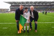 20 August 2017; eir GAA flagbearer Liam Palmer pictured with eir GAA ambassadors Tomás Ó Sé and David Brady at the All-Ireland Senior Football Semi-final between Mayo and Kerry in Croke Park, Dublin. Photo by Stephen McCarthy/Sportsfile