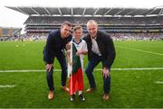 20 August 2017; eir GAA flagbearer Conor Mayock pictured with eir GAA ambassadors Tomás Ó Sé and David Brady at the All-Ireland Senior Football Semi-final between Mayo and Kerry in Croke Park, Dublin. Photo by Stephen McCarthy/Sportsfile