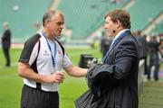 19 May 2012; Ulster head coach Brian McLaughlin in conversation with Sky Sports pundit Paul Wallace before the game. Heineken Cup Final, Leinster v Ulster, Twickenham Stadium, Twickenham, England. Picture credit: Diarmuid Greene / SPORTSFILE