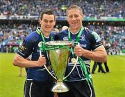 19 May 2012; Leinster players Jonathan Sexton, left, and Brad Thorn celebrate with the cup after victory over Ulster. Heineken Cup Final, Leinster v Ulster, Twickenham Stadium, Twickenham, England. Picture credit: Diarmuid Greene / SPORTSFILE