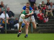 27 July 2002; James Nallen, Mayo, in action against Kevin Mulryan, Tipperary. Mayo v Tipperary, Bank of Ireland Football Qualifiers Round 4, Cusack Park, Ennis, Co. Clare. Picture credit; Damien Eagers / SPORTSFILE *EDI*