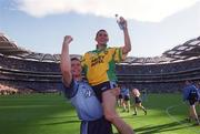 17 August 2002; Dublin's Alan Brogan lifted by Darren Magee celebrate victory over Donegal. Dublin v Donegal, All Ireland Football Quarter - Final replay, Croke Park, Dublin. Picture credit; Damien Eagers / SPORTSFILE