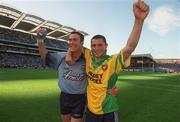 17 August 2002; Dublin's Ray Cosgrove, left, and Alan Brogan celebrate after scoring his sides first goal as Donegal's Shane Carr looks on. Dublin v Donegal, All Ireland Football Quarter - Final replay, Croke Park, Dublin. Picture credit; Damien Eagers / SPORTSFILE