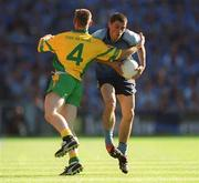 17 August 2002; Alan Brogan, Dublin, in action against Noel McGinley, Donegal. Dublin v Donegal, All Ireland Football Quarter - Final replay, Croke Park, Dublin. Picture credit; Ray McManus / SPORTSFILE