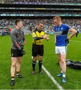 20 August 2017; Referee Maurice Deegan with team captains Cillian O'Connor of Mayo, left, and Johnny Buckley of Kerry before the GAA Football All-Ireland Senior Championship Semi-Final match between Kerry and Mayo at Croke Park in Dublin. Photo by Piaras Ó Mídheach/Sportsfile