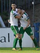 21 August 2017; Garry Buckley, right, of Cork City celebrates with team-mate Shane Griffin after scoring his side's first goal during the SSE Airtricity League Premier Division match between Finn Harps and Cork City at Finn Park in Ballybofey, Donegal. Photo by Oliver McVeigh/Sportsfile
