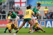 22 August 2017; Louise Galvin of Ireland is tackled by Mahalia Murphy of Australia during the 2017 Women's Rugby World Cup 5th Place Semi-Final match between Ireland and Australia at Kingspan Stadium in Belfast. Photo by Oliver McVeigh/Sportsfile