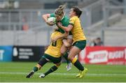 22 August 2017; Alison Miller of Ireland is tackled by Ashleigh Hewson, left, and Katrina Baker of Australia during the 2017 Women's Rugby World Cup 5th Place Semi-Final match between Ireland and Australia at Kingspan Stadium in Belfast. Photo by Oliver McVeigh/Sportsfile