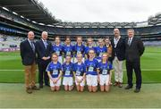 20 August 2017; President of Cumann na mBunscol Liam McGee, Uachtarán Chumann Lúthchleas Gael Aogán Ó Fearghaíl, President of the INTO John Boyle, Vice-President of the Ladies Football Association Con Moynihan, with the Kerry team, back row, left to right, Alex Carroll, St Helens SNS, Portmarnock, Dublin, Poppy Lee Carrigallen NS, Leitrim, Alana McGrath, Kilmacthomas Primary School, Waterford, Carlie O'Donohoe, Moyglass NS, Fethard, Tipperary, Tegan Neary, Glinsk NS, Galway, front row, left to right, Siobhán Cassidy Fagan, Holy Trinity SNS, Donaghmede, Dublin, Kelly McCaffrey, St Brigid's PS, Altamuskin, Tyrone, Aoife Gormley, Holy Family, Magherafelt, Derry, Chloe Moran, Ardnagrath NS, Athlone, Westmeath, Róisín Hughes, Ballythomas NS, Gorey, Wexford,  ahead of the GAA Football All-Ireland Senior Championship Semi-Final match between Kerry and Mayo at Croke Park in Dublin. Photo by Daire Brennan/Sportsfile