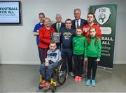 22 August 2017; Pictured are, back row, from left, Harry Walsh from Deen Celtic in Kilkenny, Tánaiste Frances Fitzgerald TD, FAI President Tony Fitzgerald, Derek Fitzpatrick from Deen Celtic in Kilkenny, FAI Chief Executive John Delaney, Keelan, aged 9 and Sarah O'Donoghue, aged 10, from Killarney Celtic in Kerry, Raymond Lyng from Deen Celtic in Kilkenny and James Casserly (bottom), aged 11, from Lucan, Co. Dublin, during the Football For All Strategic Plan Launch at the Marker Hotel in Dublin. Photo by David Fitzgerald/Sportsfile