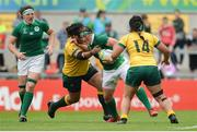22 August 2017; Lindsay Peat of Ireland is tackled by Hilisha Samo of Australia during the 2017 Women's Rugby World Cup 5th Place Semi-Final match between Ireland and Australia at Kingspan Stadium in Belfast. Photo by Oliver McVeigh/Sportsfile