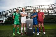 23 August 2017; PRO14 players, from left, Tiernan O'Halloran of Connacht, Iain Henderson of Ulster, Isa Nacewa of Leinster and CJ Stander of Munster, at the Guinness PRO14 season launch at the Aviva Stadium in Dublin. Photo by Ramsey Cardy/Sportsfile