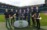 23 August 2017; In attendance at the Applegreen All-Ireland Hurling 7s launch, are, from left, Dublin hurler Fergal Whitely, Tipperary hurler Noel McGrath, Dublin hurler David O'Callaghan, Mark Lohan, Chairman of the Applegreen All Ireland Hurling 7s Committee, Peter Walsh, Kilmacud Crokes Hurling Chairman, Conor Lucey, Applegreen, Kilkenny hurler Robert Lennon, and Dublin hurler Cian Mac Gabhann, at Croke Park in Dublin. Photo by Piaras Ó Mídheach/Sportsfile