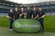 23 August 2017; In attendance at the Applegreen All-Ireland Hurling 7s launch, are, from left, Dublin hurler David O'Callaghan, Tipperary hurler Noel McGrath, Dublin hurler Fergal Whitely, Kilkenny hurler Robert Lennon, Dublin hurler Cian Mac Gabhann, and former Dublin hurler Niall Corcoran at Croke Park in Dublin. Photo by Piaras Ó Mídheach/Sportsfile