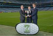 23 August 2017; In attendance at the Applegreen All-Ireland Hurling 7s launch, are, from left, Mark Lohan, Chairman of the Applegreen All Ireland Hurling 7s Committee, Peter Walsh, Kilmacud Crokes Hurling Chairman, and Conor Lucey, Applegreen, at Croke Park in Dublin. Photo by Piaras Ó Mídheach/Sportsfile