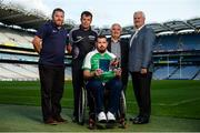 23 August 2017; Lorcan Madden, 2016 All-Star Wheelchair Hurler, joined by, from left, John O'Dwyer, Sales Manager MD Sports, hurling referee Christy Browne, Tim Maher, inventor of wheelchair hurling and member of the Leinster 'Games for All' Committee, and Uachtarán Chumann Lúthchleas Gael Aogán Ó Fearghail, in attendance at the GAA M. Donnelly Wheelchair Hurling Rulebook at Croke Park in Dublin. Photo by Cody Glenn/Sportsfile