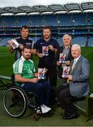 23 August 2017; Lorcan Madden, 2016 All-Star Wheelchair Hurler, joined by, from left, hurling referee Christy Browne, John O'Dwyer, Sales Manager MD Sports, Tim Maher, inventor of wheelchair hurling and member of the Leinster 'Games for All' Committee, and Uachtarán Chumann Lúthchleas Gael Aogán Ó Fearghail, in attendance at the GAA M. Donnelly Wheelchair Hurling Rulebook at Croke Park in Dublin. Photo by Cody Glenn/Sportsfile