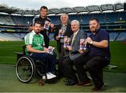 23 August 2017; Lorcan Madden, 2016 All-Star Wheelchair Hurler, joined by, from left, hurling referee Christy Browne, Tim Maher, inventor of wheelchair hurling and member of the Leinster 'Games for All' Committee, Uachtarán Chumann Lúthchleas Gael Aogán Ó Fearghail, and John O'Dwyer, Sales Manager MD Sports, in attendance at the GAA M. Donnelly Wheelchair Hurling Rulebook at Croke Park in Dublin. Photo by Cody Glenn/Sportsfile