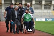 23 August 2017; Lorcan Madden, 2016 All-Star Wheelchair Hurler, joined by, from left, John O'Dwyer, Sales Manager MD Sports, Tim Maher, inventor of wheelchair hurling and member of the Leinster 'Games for All' Committee, hurling referee Christy Browne, and Uachtarán Chumann Lúthchleas Gael Aogán Ó Fearghail, in attendance at the GAA M. Donnelly Wheelchair Hurling Rulebook at Croke Park in Dublin. Photo by Cody Glenn/Sportsfile