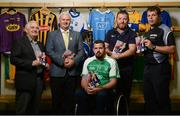23 August 2017; Lorcan Madden, 2016 All-Star Wheelchair Hurler, joined by, from left, Tim Maher, inventor of wheelchair hurling and member of the Leinster 'Games for All' Committee, Uachtarán Chumann Lúthchleas Gael Aogán Ó Fearghail, John O'Dwyer, Sales Manager MD Sports, and hurling referee Christy Browne, in attendance at the GAA M. Donnelly Wheelchair Hurling Rulebook at Croke Park in Dublin. Photo by Cody Glenn/Sportsfile