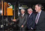 24 August 2017; Uachtarán Chumann Lúthchleas Gael Aogán Ó Fearghail, left, with former Kilkenny hurler Frank Cummins, centre, and former Offaly hurler Padraig Horan during the GAA Museum Hall of Fame – Announcement of 2017 Inductees event at Croke Park in Dublin. Photo by Matt Browne/Sportsfile