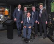 24 August 2017; Uachtarán Chumann Lúthchleas Gael Aogán Ó Fearghail second from left, with from left, former Kerry footballer Jack O'Shea, former Offaly footballer Matt Connor, and former Offaly hurler Padraig Horan, along with former Kilkenny hurler Frank Cummins, during the GAA Museum Hall of Fame – Announcement of 2017 Inductees event at Croke Park in Dublin. Photo by Matt Browne/Sportsfile