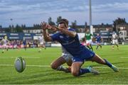 25 August 2017; Dave Kearney of Leinster scores his side's second try during the Bank of Ireland pre-season friendly match between Leinster and Bath at Donnybrook Stadium in Dublin. Photo by Ramsey Cardy/Sportsfile