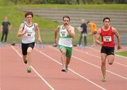 20 May 2012; Zak Irwin, Sligo A.C., left, Jamie Davis, Raheny Shamrock A.C., and Greg O'Shea, Dooneen A.C., right, in action during the Mens 100m event. Woodie's DIY AAI Games, Morton Stadium, Santry, Dublin. Picture credit: Tomas Greally / SPORTSFILE