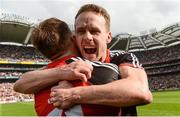 26 August 2017; Andy Moran of Mayo, behind, celebrates with team-mate Aidan O'Shea after the GAA Football All-Ireland Senior Championship Semi-Final Replay match between Kerry and Mayo at Croke Park in Dublin. Photo by Piaras Ó Mídheach/Sportsfile