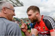 26 August 2017; Aidan O'Shea of Mayo celebrates with coach Donie Buckley after the GAA Football All-Ireland Senior Championship Semi-Final Replay match between Kerry and Mayo at Croke Park in Dublin. Photo by Piaras Ó Mídheach/Sportsfile