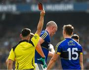 26 August 2017; Kieran Donaghy of Kerry, centre,  is shown a red card near the end of the game by referee David Gough during the GAA Football All-Ireland Senior Championship Semi-Final Replay match between Kerry and Mayo at Croke Park in Dublin. Photo by Ray McManus/Sportsfile