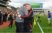 26 August 2017; Mayo manager Stephen Rochford celebrates with selector Donie Buckley at the final whistle of the GAA Football All-Ireland Senior Championship Semi-Final Replay match between Kerry and Mayo at Croke Park in Dublin. Photo by Brendan Moran/Sportsfile
