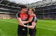 26 August 2017; Barry Moran, left, and Donal Vaughan of Mayo celebrate after the GAA Football All-Ireland Senior Championship Semi-Final Replay match between Kerry and Mayo at Croke Park in Dublin. Photo by Brendan Moran/Sportsfile