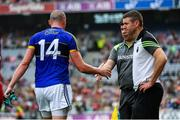 26 August 2017; Kerry manager Éamonn Fitzmaurice shakes hands with Kieran Donaghy after his red card during the GAA Football All-Ireland Senior Championship Semi-Final Replay match between Kerry and Mayo at Croke Park in Dublin. Photo by Ramsey Cardy/Sportsfile