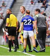 26 August 2017; Darran O'Sullivan of Kerry and manager Éamonn Fitzmaurice argue with linesman Anthony Nolan after he received a black card during the GAA Football All-Ireland Senior Championship Semi-Final Replay match between Kerry and Mayo at Croke Park in Dublin. Photo by Ramsey Cardy/Sportsfile
