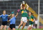 26 August 2017; Louise Ni Mhuircheartaigh of Kerry in action against Sinead Finnegan, left, and Lauren Magee of Dublin during the TG4 Ladies Football All-Ireland Senior Championship Semi-Final match between Dublin and Kerry at Semple Stadium in Thurles, Co. Tipperary. Photo by Matt Browne/Sportsfile
