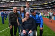 27 August 2017; Dublin manager Jim Gavin and Tyrone manager Mickey Harte, alongside former Antrim footballer Anto Finnegan and his children Conall and Ava ahead of the GAA Football All-Ireland Senior Championship Semi-Final match between Dublin and Tyrone at Croke Park in Dublin. Photo by Ramsey Cardy/Sportsfile