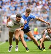 27 August 2017; Tiernan McCann of Tyrone is tackled by Paul Mannion of Dublin during the GAA Football All-Ireland Senior Championship Semi-Final match between Dublin and Tyrone at Croke Park in Dublin. Photo by Ramsey Cardy/Sportsfile