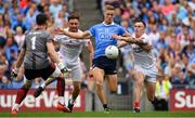 27 August 2017; Paul Mannion of Dublin in action against Pádraig Hampsey, left, and Cathal McCarron of Tyrone during the GAA Football All-Ireland Senior Championship Semi-Final match between Dublin and Tyrone at Croke Park in Dublin. Photo by Brendan Moran/Sportsfile