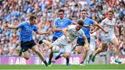 27 August 2017; Pádraig Hampsey of Tyrone is tackled by Dublin players, from left, Jack McCaffrey, Niall Scully and Paul Mannion during the GAA Football All-Ireland Senior Championship Semi-Final match between Dublin and Tyrone at Croke Park in Dublin. Photo by Ramsey Cardy/Sportsfile