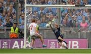 27 August 2017; Stephen Cluxton of Dublin saves a second half penalty taken by Peter Harte of Tyrone during the GAA Football All-Ireland Senior Championship Semi-Final match between Dublin and Tyrone at Croke Park in Dublin. Photo by Piaras Ó Mídheach/Sportsfile
