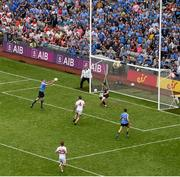 27 August 2017; Eoghan O'Gara of Dublin scores his side's second goal during the GAA Football All-Ireland Senior Championship Semi-Final match between Dublin and Tyrone at Croke Park in Dublin. Photo by Daire Brennan/Sportsfile