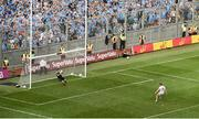27 August 2017; Stephen Cluxton of Dublin saves a penalty from Peter Harte of Tyrone during the GAA Football All-Ireland Senior Championship Semi-Final match between Dublin and Tyrone at Croke Park in Dublin. Photo by Daire Brennan/Sportsfile