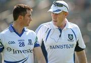 27 May 2012; Monaghan manager Eamon McEneaney, right, speaks to Tomas Freeman before the game. Ulster GAA Football  Senior Championship Quarter Final, Monaghan v Antrim, St Tiernach's Park, Clones, Co. Monaghan. Picture credit: Oliver McVeigh / SPORTSFILE