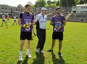 27 May 2012; Monaghan manager Eamon McEneaney, centre, with injured Monaghan players Darren Hughes, left, and Neil McAdam before the game. Ulster GAA Football  Senior Championship Quarter Final, Monaghan v Antrim, St Tiernach's Park, Clones, Co. Monaghan. Picture credit: Oliver McVeigh / SPORTSFILE