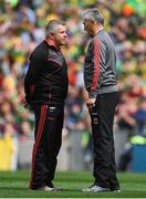 26 August 2017; Mayo manager Stephen Rochford, left, with selector Donie Buckley during the GAA Football All-Ireland Senior Championship Semi-Final Replay match between Kerry and Mayo at Croke Park in Dublin. Photo by Brendan Moran/Sportsfile