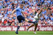 27 August 2017; Eoghan O'Gara of Dublin in action against Tiernan McCann of Tyrone during the GAA Football All-Ireland Senior Championship Semi-Final match between Dublin and Tyrone at Croke Park in Dublin. Photo by Ramsey Cardy/Sportsfile